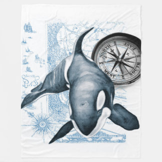 Orca Compass Vintage Fleece Blanket