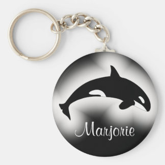 Orca Killer Whale Black and White Name Basic Round Button Key Ring