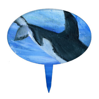 Orca killer whale cake pick