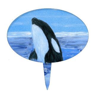 Orca killer whale oval cake pick
