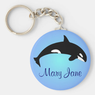 Orca Killer Whale Gradient Blue Name Basic Round Button Key Ring