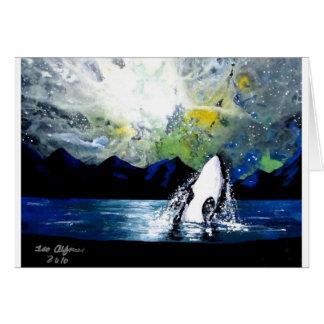 ORCA KILLER WHALE HAVING FUN IN THE SUN GREETING CARD