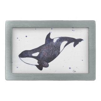 Orca Killer whale illustration Rectangular Belt Buckle