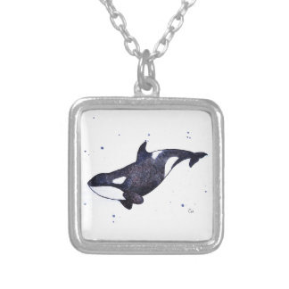 Orca Killer whale illustration Silver Plated Necklace