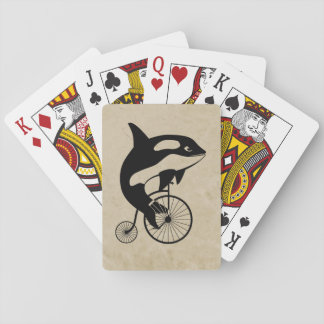 Orca Killer Whale on Vintage Bike Playing Cards