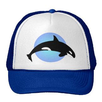 Orca Killer Whale Silhouette Blue Circle Hat