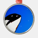Orca Killer Whale Spy Hops on a Blue Starry Sky Ornaments