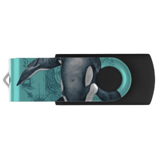 Orca Map Teal USB Flash Drive