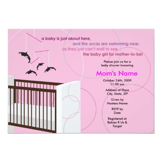 Orca Mobile Girl Crib Flat Baby Shower Invitation