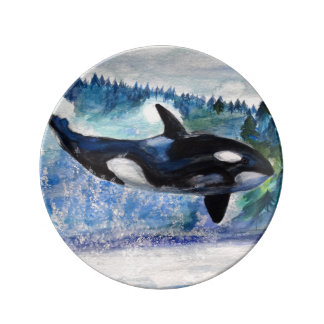 Orca Painting Decorative Porcelain Plate