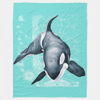 Orca Teal White Map Fleece Blanket
