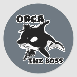 orca the boss cartoon style funny illustration classic round sticker