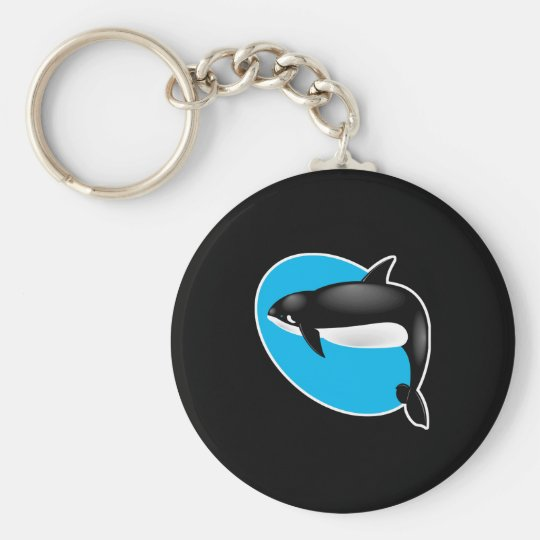 orca whale basic round button key ring