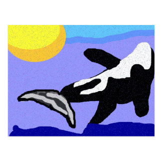 orca whale flippin to the sun postcard
