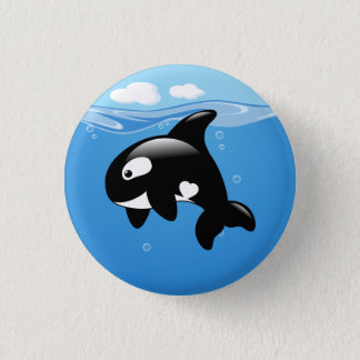 Orca Whale in Ocean 3 Cm Round Badge
