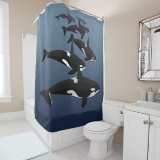 Orca Whale Shower Curtains Whale Art Bath Decor