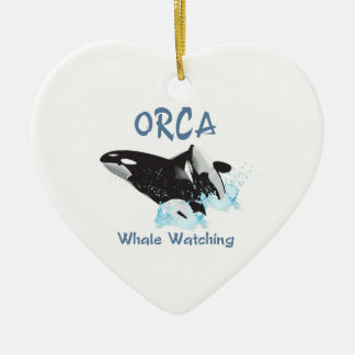 ORCA Whale Watching Ceramic Heart Decoration