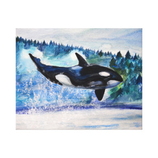 Orca whale watercolor Canvas