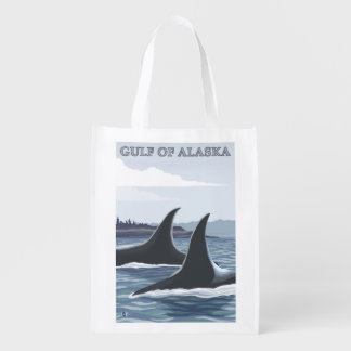 Orca Whales #1 - Gulf of Alaska Reusable Grocery Bag
