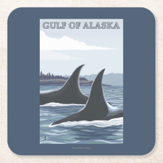 Orca Whales #1 - Gulf of Alaska Square Paper Coaster