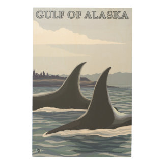 Orca Whales #1 - Gulf of Alaska Wood Prints
