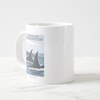Orca Whales #1 - Lopez, Washington Large Coffee Mug