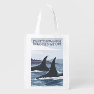 Orca Whales #1 - Port Townsend, Washington Reusable Grocery Bag