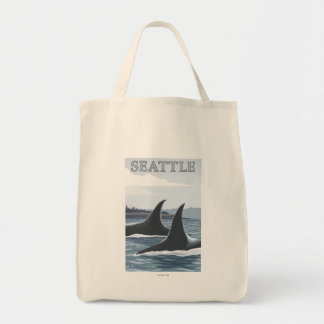 Orca Whales #1 - Seattle, Washington Canvas Bags