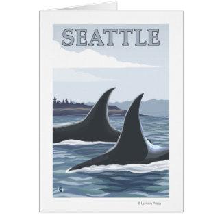Orca Whales #1 - Seattle, Washington Greeting Card