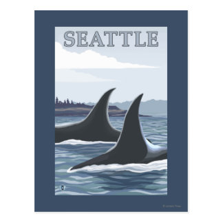 Orca Whales #1 - Seattle, Washington Postcard