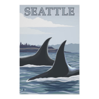 Orca Whales #1 - Seattle, Washington Poster