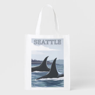 Orca Whales #1 - Seattle, Washington Reusable Grocery Bags