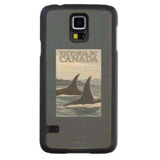 Orca Whales #1 - Victoria, BC Canada Carved Maple Galaxy S5 Case