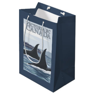 Orca Whales #1 - Victoria, BC Canada Medium Gift Bag