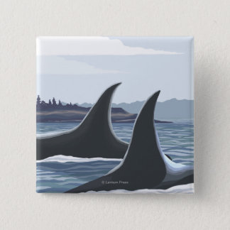 Orca Whales #1- Vintage Travel Poster 15 Cm Square Badge