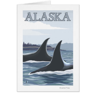 Orca Whales #1- Vintage Travel Poster Card