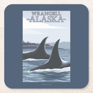 Orca Whales #1 - Wrangell, Alaska Square Paper Coaster