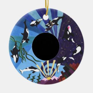 Orcas Ascending with Custom Photo Round Ceramic Decoration