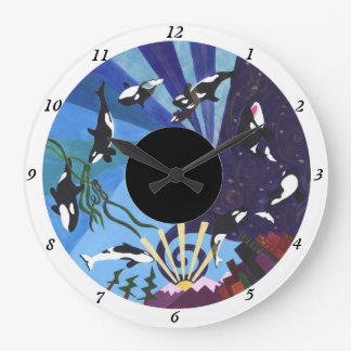 Orcas Ascending - with numbers Wall Clocks
