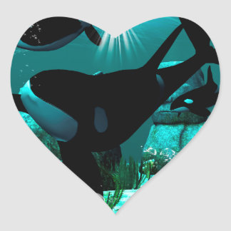 Orcas Heart Sticker