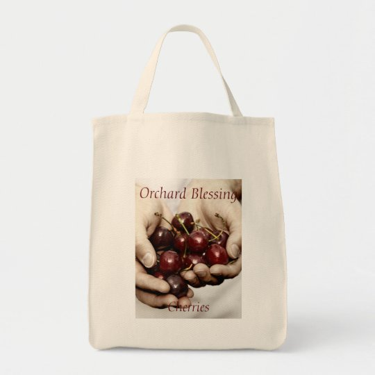 Orchard Blessing. Cherries Photo customisable text Tote Bag