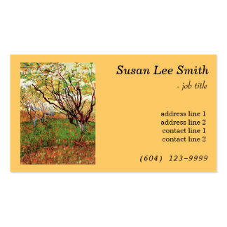 Orchard in Blossom by Vincent van Gogh. Yellow Business Card Template