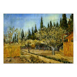 Orchard in Blossom, Cypresses, Vincent van Gogh Greeting Card