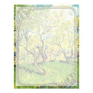 Orchard in Blossom, Vincent van Gogh. Flyer Design
