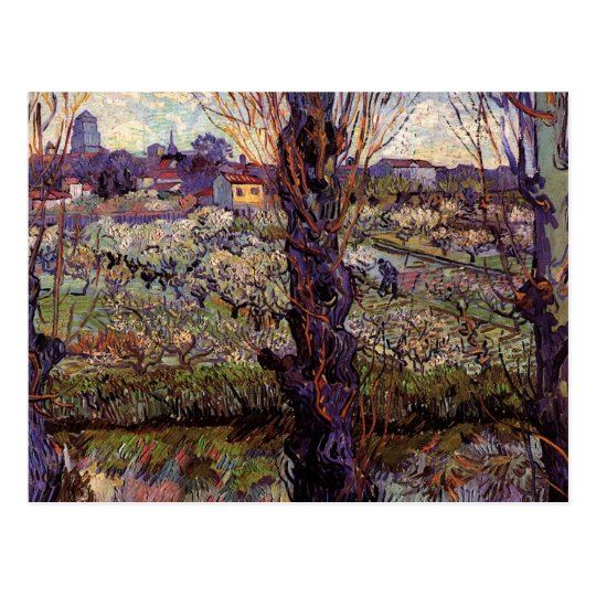 Orchard in Blossom with View of Arles by