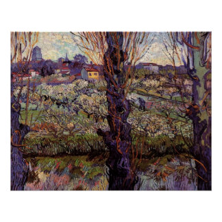 Orchard in Blossom with View of Arles by van Gogh Poster