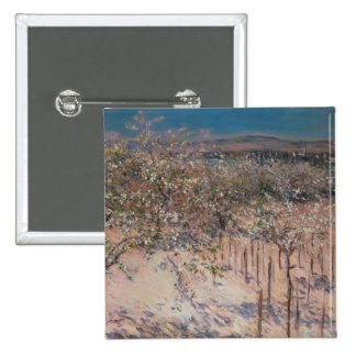 Orchard with Flowering Apple Trees, Colombes 15 Cm Square Badge