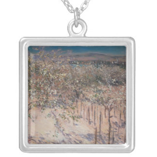 Orchard with Flowering Apple Trees, Colombes Silver Plated Necklace