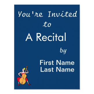 Orchestra bass player blonde female red dress.png 11 cm x 14 cm invitation card