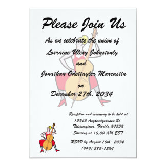 Orchestra bass player blonde female red dress.png 13 cm x 18 cm invitation card